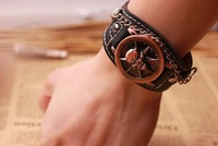 2015HOT Sale!!  Stainless Watches for Men skull Latest Popular  Leather Watch Personality leather bracelet Wristwatches