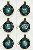 Free Shipping Fashion Cool Vintage Zodiac Alloy Gem Chain Twelve Constellation Necklace Xmas Gifts 4018-504