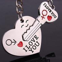 5pair 2014 Hot Sale Zinc Alloy Plated Lovers Gift Couple I Love You Heart Keychain Fashion Keyring Key Fob Creative Key Chain