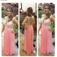Real Picture Pink Long Evening Dresses TQ-007 Sweetheart Cap Sleeve Lace Evening Gown Open Back Vestido de noite