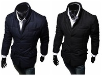 2014 New Arrival Mens Winter Coat Fashion Outwear Cotton Padded Warm Slim Pure Color Casual Jacket Size L XL XXL Top Design
