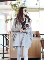 Free Shipping Autumn & Winter Women's Plus size With Hood Casual Design Long batwing Sleeve Loose Cloak Outerwear Sweatshirt