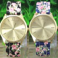Vintage Ladies Geneva Print Flower Silicone Quartz Analog Round Wrist Watch Colorful