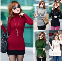Autumn Winter Sweater Women Turtleneck Knitted Sweater Casual Fashion Warm Slim Long Sleeve Neck Crochet Pullover Tricotado