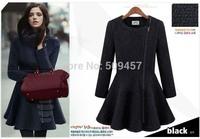 Trench Slim Zippers Long Outerwear Coats Women Wool Blends Autumn Winter Women's Coat