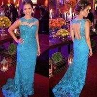 Court Train Open Back Sweetheart Mermaid Evening Dresses Formal Full Lace Gown 2015 Elegant Blue Vestido de noite  TQ-008