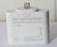 8 pin Lightning 5-in-1 Card Reader Adapter Support SD/TF/MMC/MS/M2 Card USB