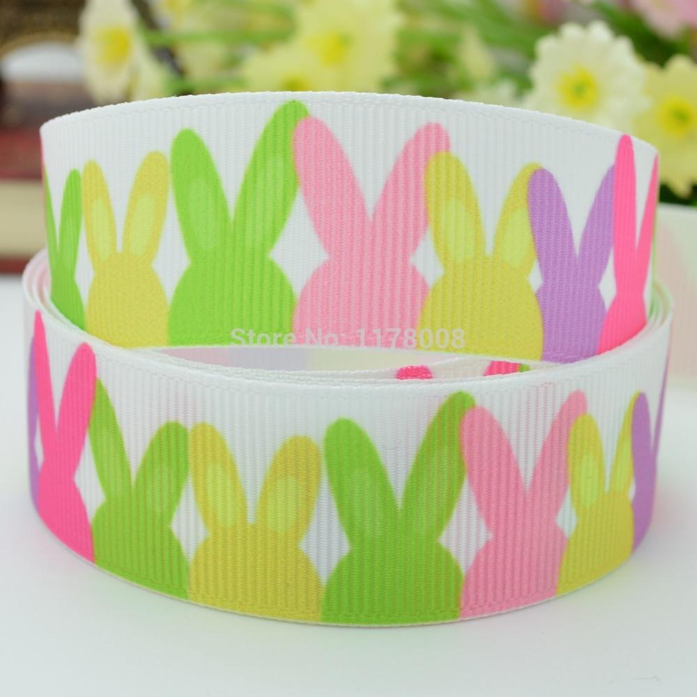 "Free shipping 7/8"" 22mm Easter Rainbow Rabbit Printed grosgrain ribbon hairbow DIY handmade wholesale OEM 50YD(China (Mainland))"