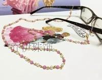New arrivel   mashan jade glasses chain pearl   original manual cute pink glasses  chain