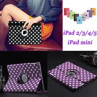 100pcs/lot 360 rotating polka dot case Pu leather case for iPad2345/for iPad mini