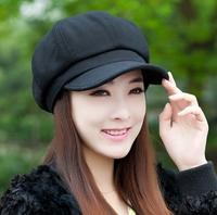 Winter beret female autumn and winter woolen octagonal cap repair female fashion cap