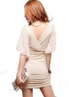 2014 European  American nightclub party elegant double V-neck chiffon sleeve dress sexy package hip