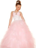 Soft Color New Design Pink Halter Hand Made Sequins Floor Length Ball Gowns Organza Flower Girl Dress Pageant Dresses