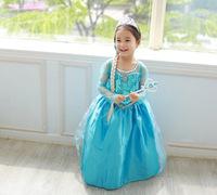 Girls Frozen Princess Anna Elsa Cosplay Costume Dress Kid's Party Dress Children Clothing Free Shipping