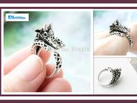 10pcs Wholesale Free Shipping 2014 Cute Animal Ring Antique Bronze Giraffe Rings ,DR057