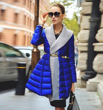 2015 Sexy V-neck Winter Jacket Women Clothing Fashion Show Modern Slim Down Coat Unique Design Winter Coat Women Outwear Coat(China (Mainland))