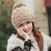 Winter hat female rabbit fur hat knitted hat autumn and winter women's fur hat