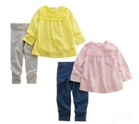 2015 New Baby Children Clothing Set T-shirt+Trousers/Pants/leggings 2 Pcs/Set Top Cotton With Lace Princess 2-4T Fashion Girls