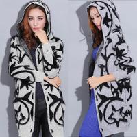 Women Sweater Coat Long Cardigan Hooded Knitwear Star Pattern Jacquard Winter HY-41018