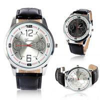 New New Luxury Leather Analog Quartz Unisex Mens Vogue Watches Sport Wrist Watch