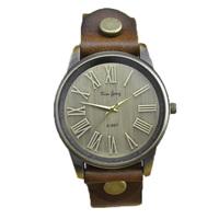 bronze dial genuine real leather fashion quartz watch women 2015 new hour roman number wristwatch lady girl antique vintage
