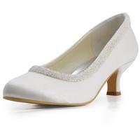 "EL-005CC Women's Ivory  Bridal Pumps Almond Toe Beading  2"" Stiletto Heel Satin Wedding Shoes"