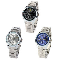 New New Mens Stainless Steel Watches Casual Analog Quartz Wrist Watch Round Dial