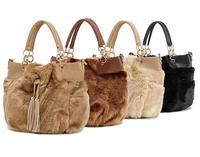 Fur bag real leather bag for women winter hotselling fashion shoulder bag ladies 4 color genuine leather handbags