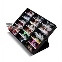 Hot sales 18 grids sunglasses display case vertical glasses box glasses black lid storage box