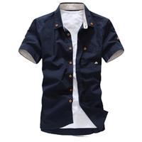 2014 new casual men short-sleeve shirt embroidered Korean mushrooms summer pocket Slim