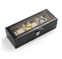 Free Shipping High-grade PU Leather 6 Grid Slots Jewelry Watch Display Box Case Rectangle Watch Box