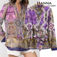 2014 New Arrival Fashion Vintage Print Long Sleeve Women's Shirts Blouses