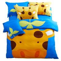 Home cartoon 100% cotton thickening sanded four piece set 100% cotton sheets duvet cover piece set child bedding