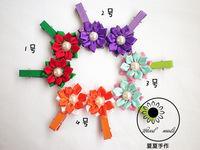 Handmade hair accessory hair accessory child hair accessory hairpin double layer two-color style flower hairpin side-knotted