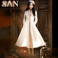 women vintage style flowers embroidery woolen long skirt wool trench coat outerwear overcoat plush winter dresses woolen coat
