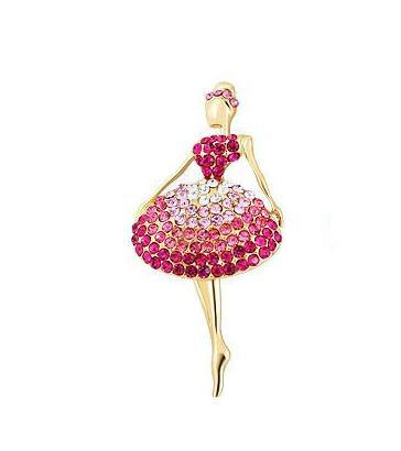 Free Shipping High Quality,Beautiful Ballerina Crystal Angel Jewelry Pin Brooch A049(China (Mainland))