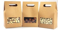 50X Brown handle kraft paper box with window standing up bottom 10 * 15.5cm + 6cm FREE SHIPPING WHOLESALE