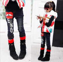 2014 winter child pant kids children s clothing letter jeans pants clothes girls casual pants