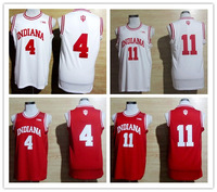 Free Shipping NCAA Indiana Hoosiers #4 Victor Oladipo, #11 Isiah Thomas Red white Big 10 Patch College Basketball Jerseys