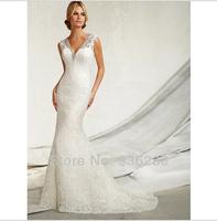 2014 New High Quality Mermaid V-neck Sleeveless Court Train Lace with Appliques Elegant Wedding Dresses xuefb2401569874