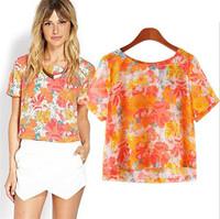 2015 Trendy Women Bright Floral Print Shirts Slim Women Short Sleeve Thin Cool Shirt Crop Tops Spring Summer Blouses
