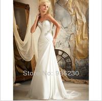 2014 New Style High Quality A-line Sweetheart Sleeveless Court Train Beading Chiffon and Satin Beach Wedding Dress xuefa44815589