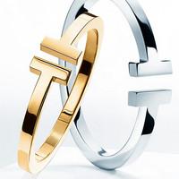 New Arrival Brand Luxury T Letter Ring Logo Titanium Stainless Steel 18k Yellow/Rose/White Gold Plate Women Lovers Ring Bijoux