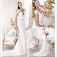 2014 New Arrival Sheath Beading Wedding Dresses V-neck  Sleeve Appliques Luxurious Chiffon Bridal Gown XJ39715698745