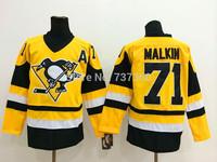 Cheap Free Shipping men's Hockey Jersey Pittsburgh Penguins # 71 Evgeni Malkin Hockey Jersey Embroidery Logos Jersey