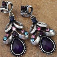 Women's Vintage Elegant Bohemian Drop Rhinestone Eardrops Earrings Jewelry
