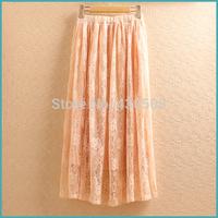 South Korean women's clothing lace skirts Big skirt hook flower hollow skirt pleated skirt