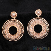 Women's Vintage Royal Rhinestone Alloy Eardrops Dangle Stud Jewelry Earrings