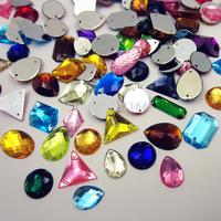 New arrival 100pcs mix color mix shape rhinestones Sewing on Rhinestones Acylic rhinestone buttons Flat back gems DIY applique