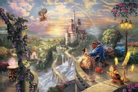 High quality,romantic landscapes oil painting,Beauty and the Beast Falling in Love by Thomas Kinkade Painting,,Hand-painted